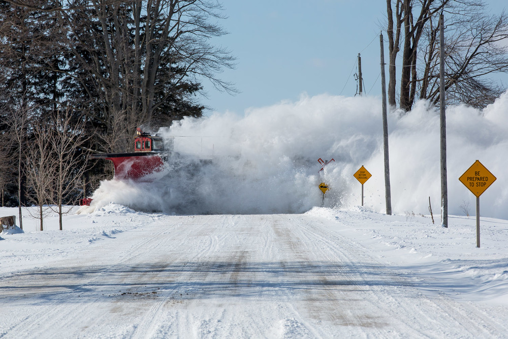 Breathtaking! Tearing across the McBeth Road crossing south of Salford, the OSR plow heads for Tillsonburg.