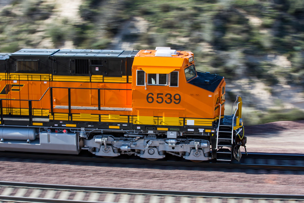 No better way to get acquainted with new equipment: a new Canon meets new BNSF GEs on Cajon Pass.