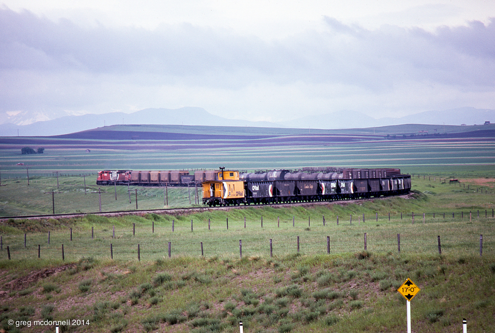 The conductor on Extra 5611 West is out on the rear platform of wooden van 436891 as his train rounds a curve west of Brocket, Alberta.