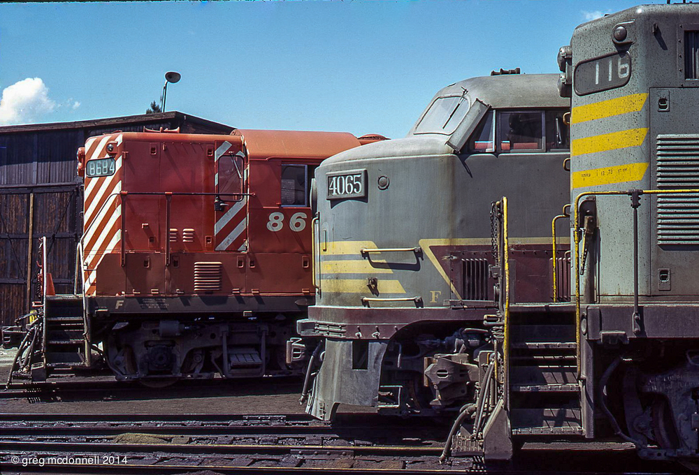 "CP 4065, one time ""City of Kingston"" demonstrator, is flanked by GP9s on the roundhouse leads at Cranbrook. In the foreground is former Quebec, North Shore & Labrador 116, in back is recently painted CP 8684."
