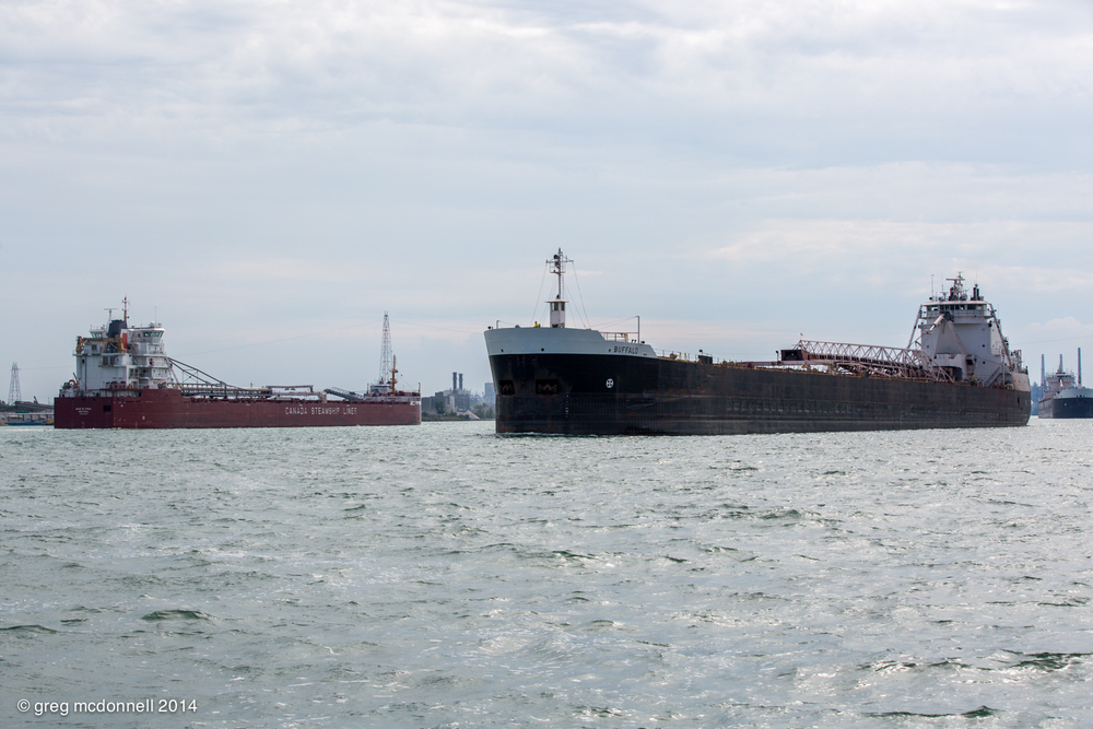 Heavy traffic. CSL Baie St. Paul passes upbound American Steamship Lines Buffalo as American Mariner heads to the fuel dock.