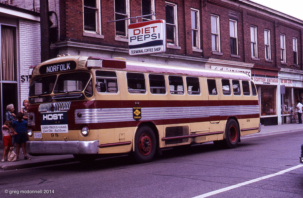 Galt Public Service Commission 98, a rare 1948 model 38-S Twin Coach, pauses on Ainslie Street in downtown Galt. A worthy diversion.