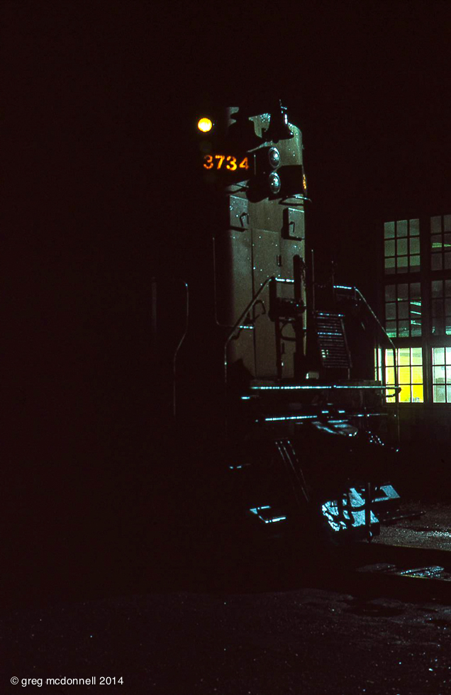 Calling it a night: CN 3734 at the Stratford roundhouse.
