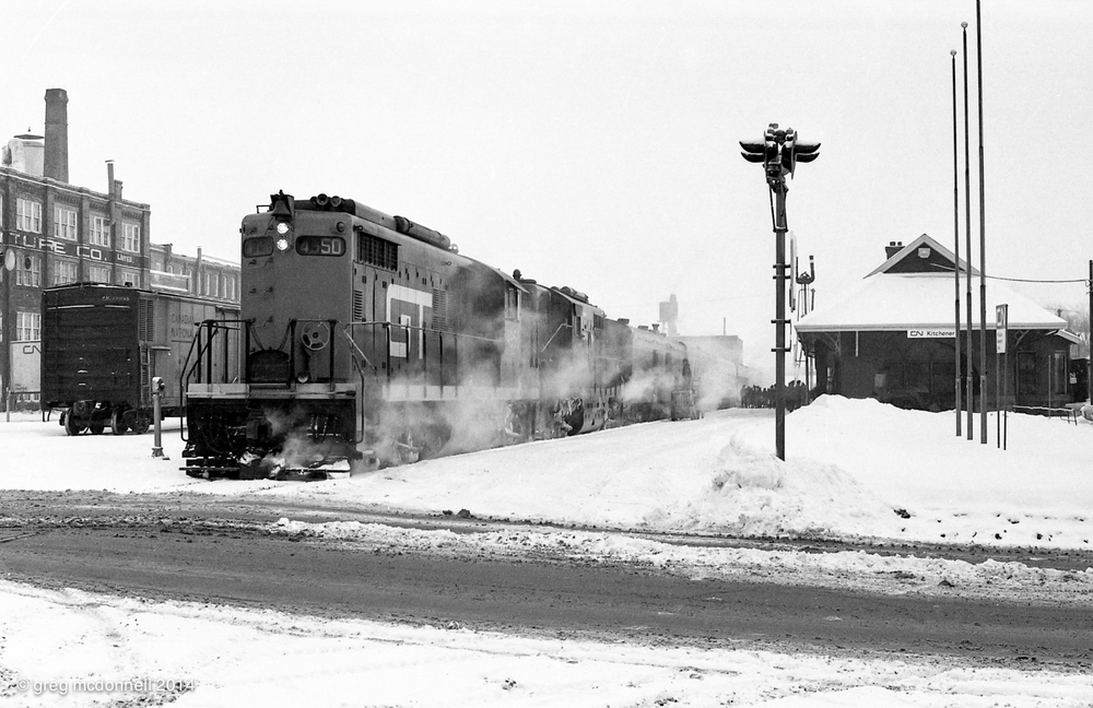 No. 159, the Maple Leaf pauses at Kitchener, Ont., December 31, 1969.