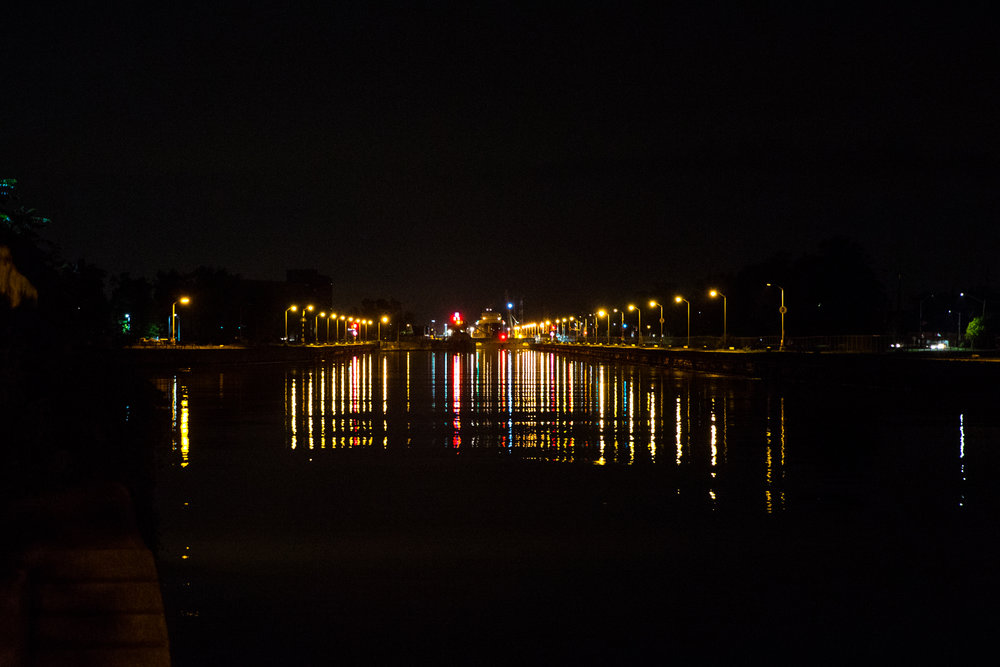 A dark form in the distant lights of Lock 8. Algosoo.