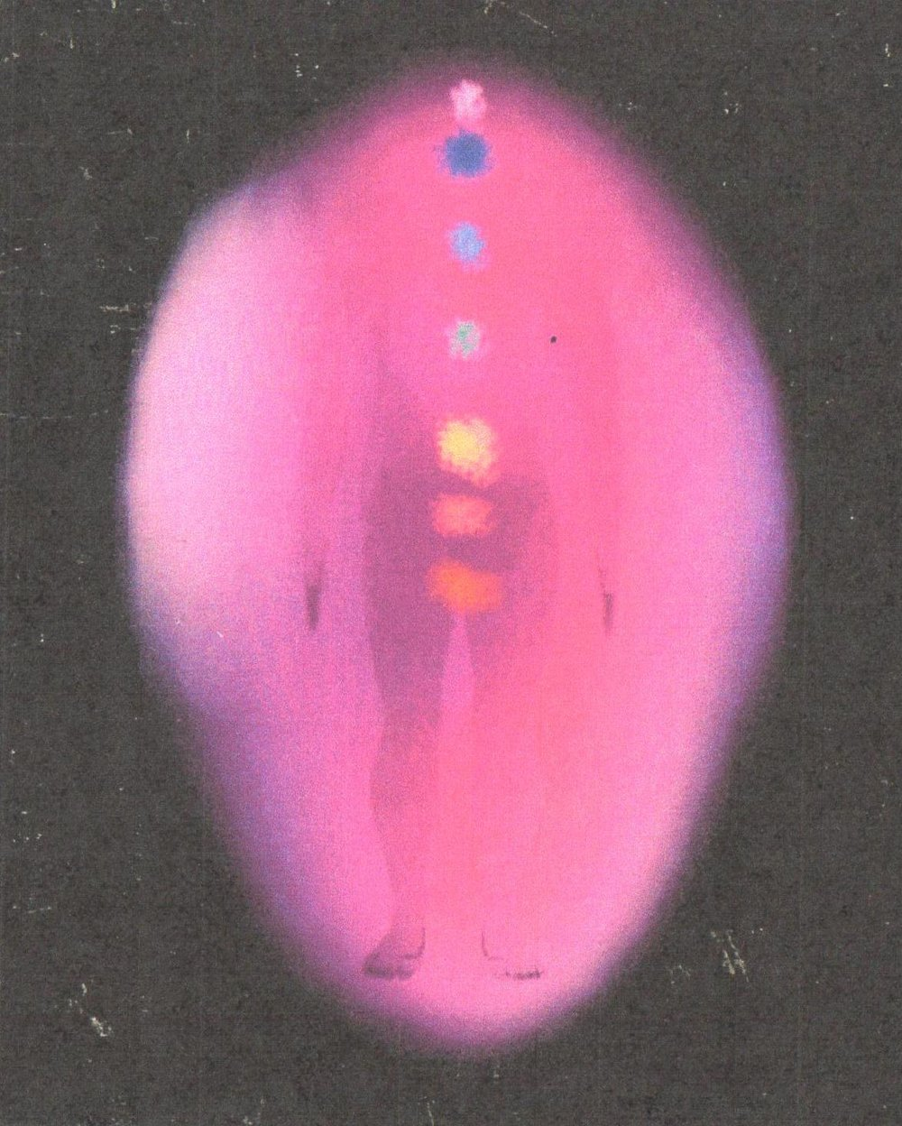 Aura photography performed on a man before a healing session with Victor