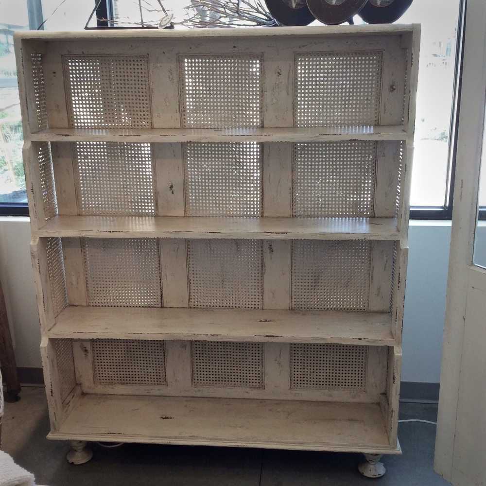 Dual Sided Bookcase in Antique White Now $900 Was $1875 52w x 64h x 24d