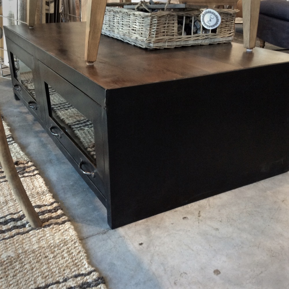 Rockwell Industrial Coffee Table Drawers on both sides lift up 1 glass panel cracked Now $695 Was $1089 54w x 28d x 16h
