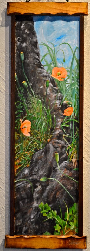 poppies in tree roots (5x15)