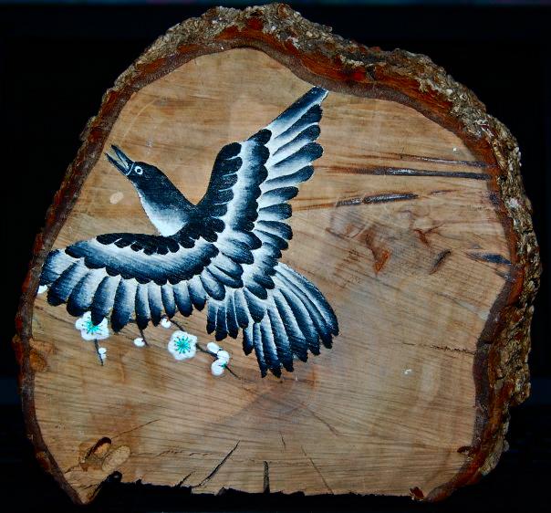 crow on wood (5x5)