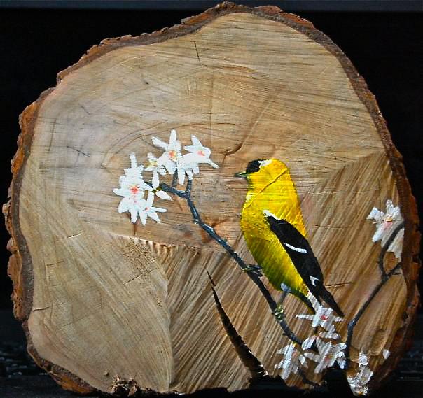 bird on wood (5x5)