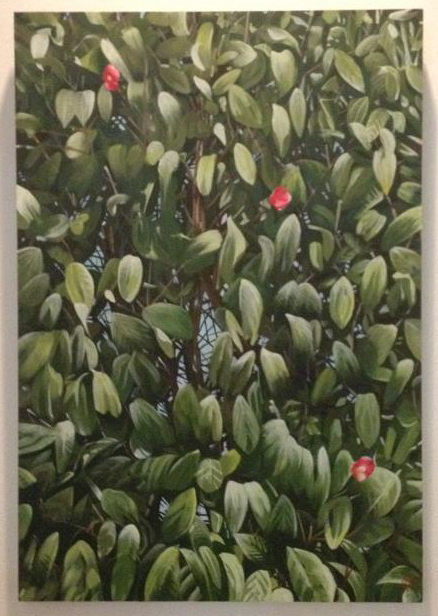 camelia tree, live painting (24x36)