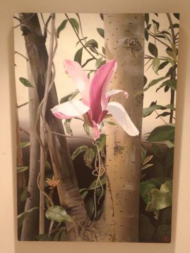 magnolia, live painting (24x36)