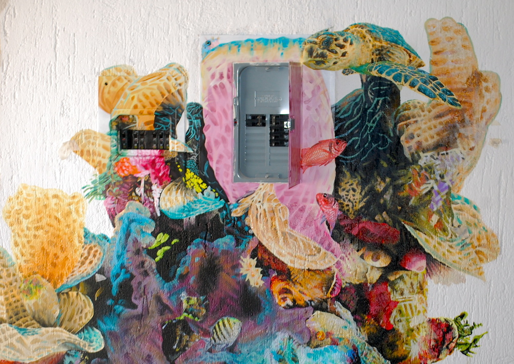 Electrical boxes are difficult to work into a reef mural, this much I learned.