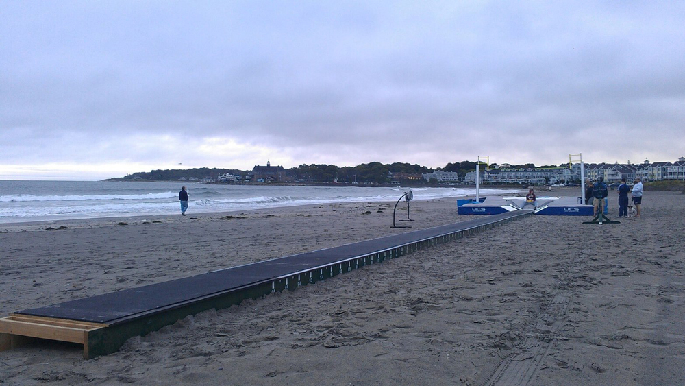 Raised runway getting set up for a beach vault