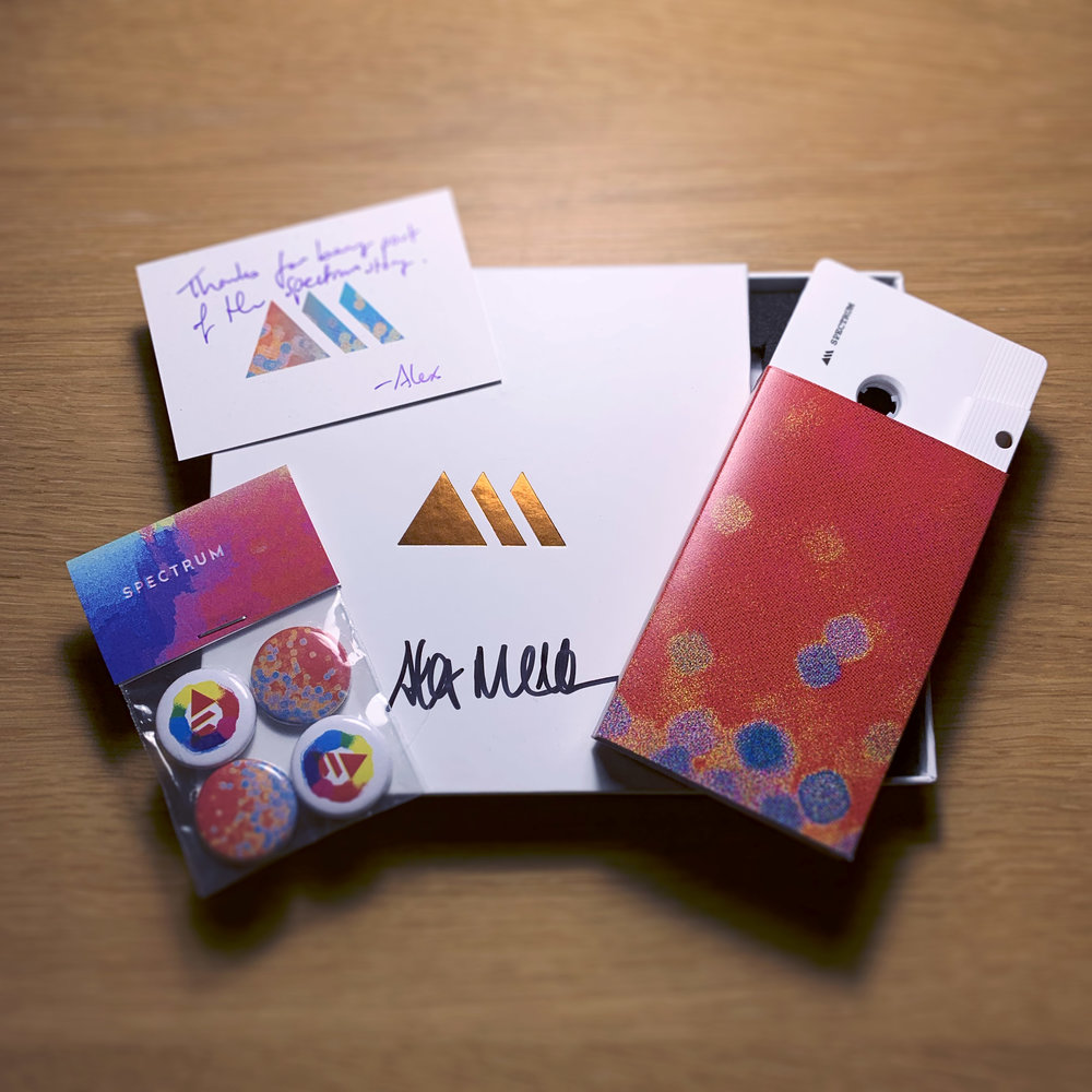 Spectrum: Collector's Edition - Shipping from 25/1/19. Package contains:- Stamped, recorded C45 audio cassette- Signed copper foil-stamped presentation case with foam insert- Spectrum badge pack (2x Spectrum, 2x RRN logo)- Personalised thank-you card