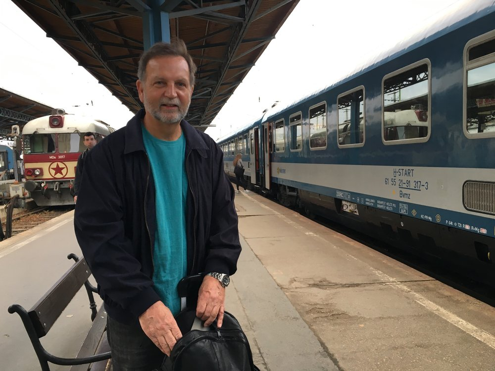 Dad before boarding the train at Keleti Station, Budapest, Hungary.