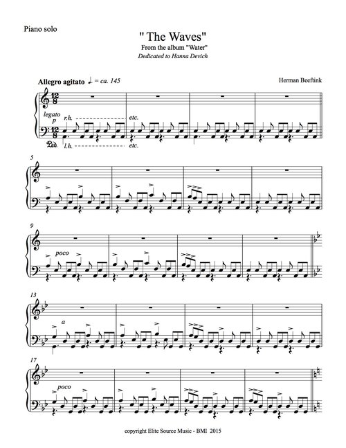The Waves From Water Sheet Music Piano Solo By Herman Beeftink 4