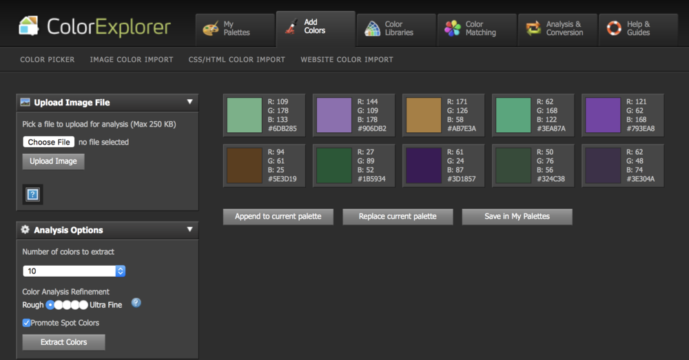 ColorExplorer interface