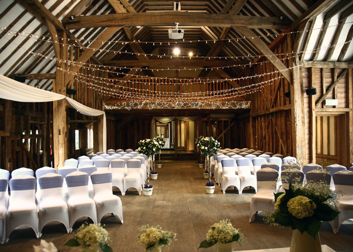 The remarkable interior of the barn, all ready for the day's events