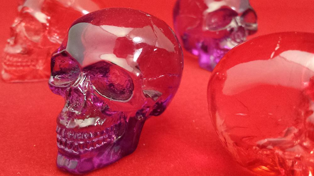 Neon Plastic Skulls