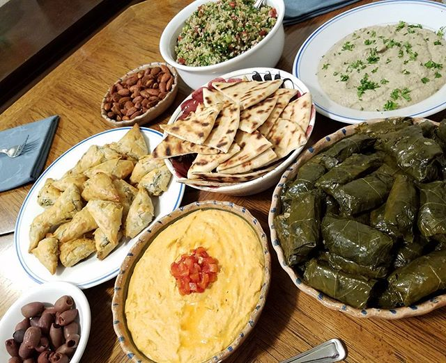 OMG our dinner last night! Mikey made, all from scratch (except the bread and olives): spiced almonds, taboull,  baba ganoush, dolmas, red pepper hummus, spanakopita, olives, and grilled pita! #gregwharton #whartongreg #instagay #namasgay #dinnerwithfriends #medittanean #meza #vegetarian #yourejealousofmyfood