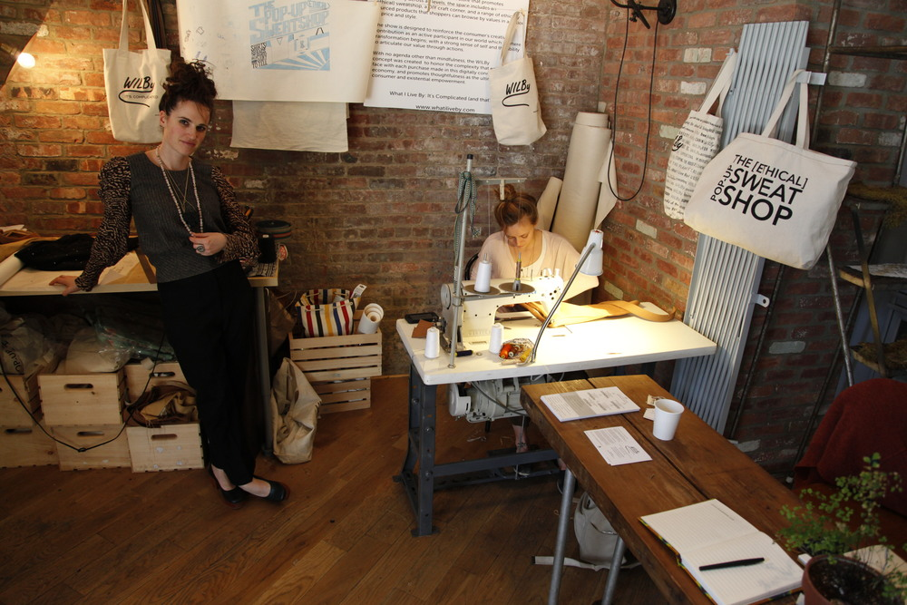 Artist Elana Langer and Designer Isabella Scott in the Pop Up [Ethical] Sweatshop at the Wythe Hotel in Brooklyn.