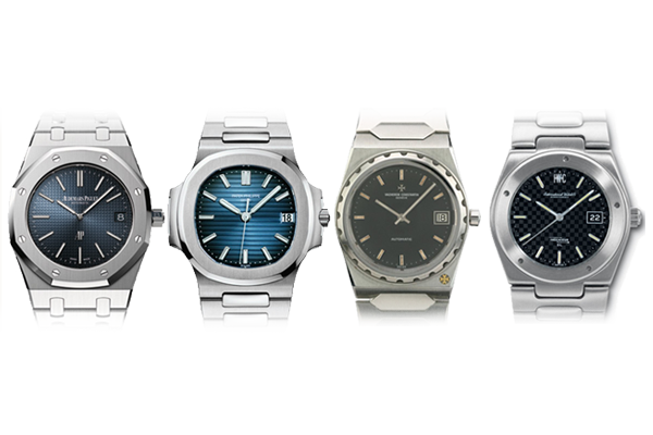 Left to right: Audemars Piguet Royal Oak, Patek Philippe Nautilus, Vacheron Constantin 222, IWC Ingenieur