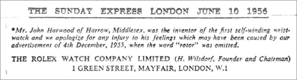 The 1956 Note of Apology in the Sunday Express