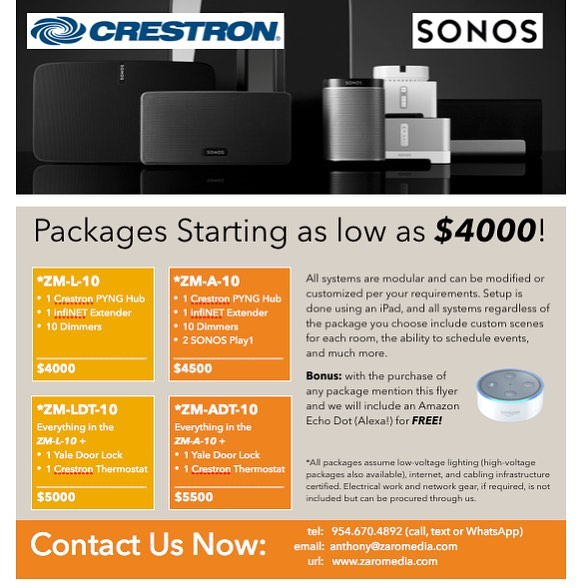 #Crestron #Sonos #HomeAutomation #Shades #AudioVideo #Thermostats #HVAC #SecurityCamera #DoorLocks #ZaroMedia ———————————— Email: info@ZaroMedia.com Call/Text: 954-670-4892
