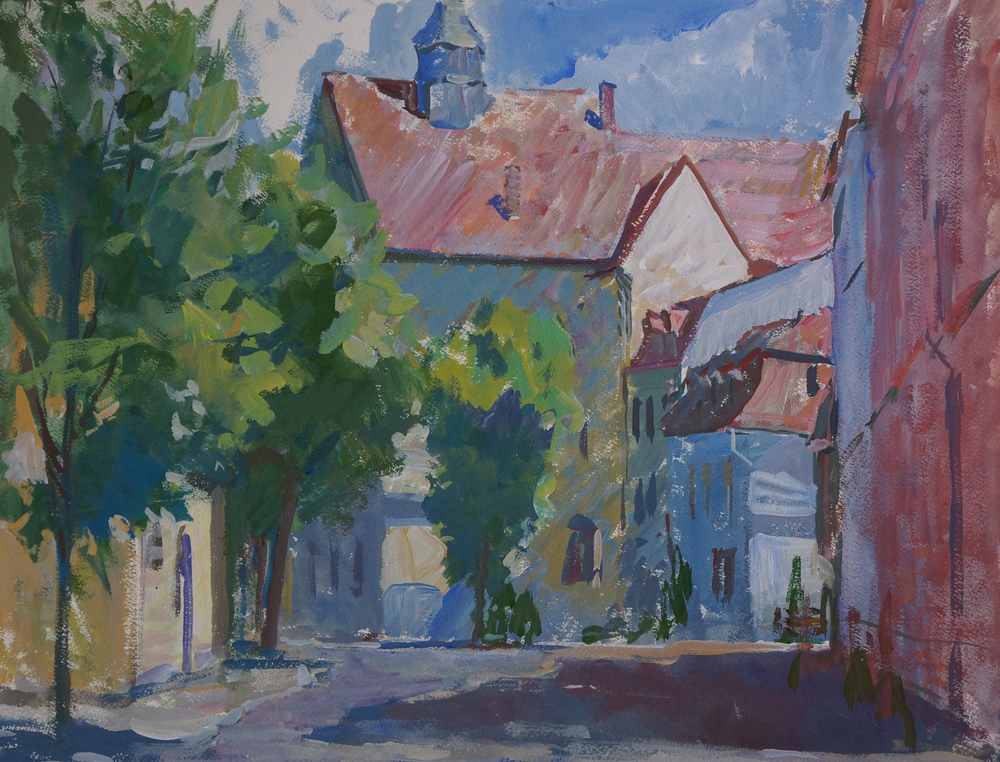Early Morning in Sibiu, Iliya Mirochnik,17x22.JPG