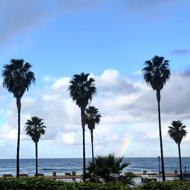 Be a rainbow in somebody's cloud today😊#kindness #love #rainbow #palmtrees #storm #california #saltandpeppersupply