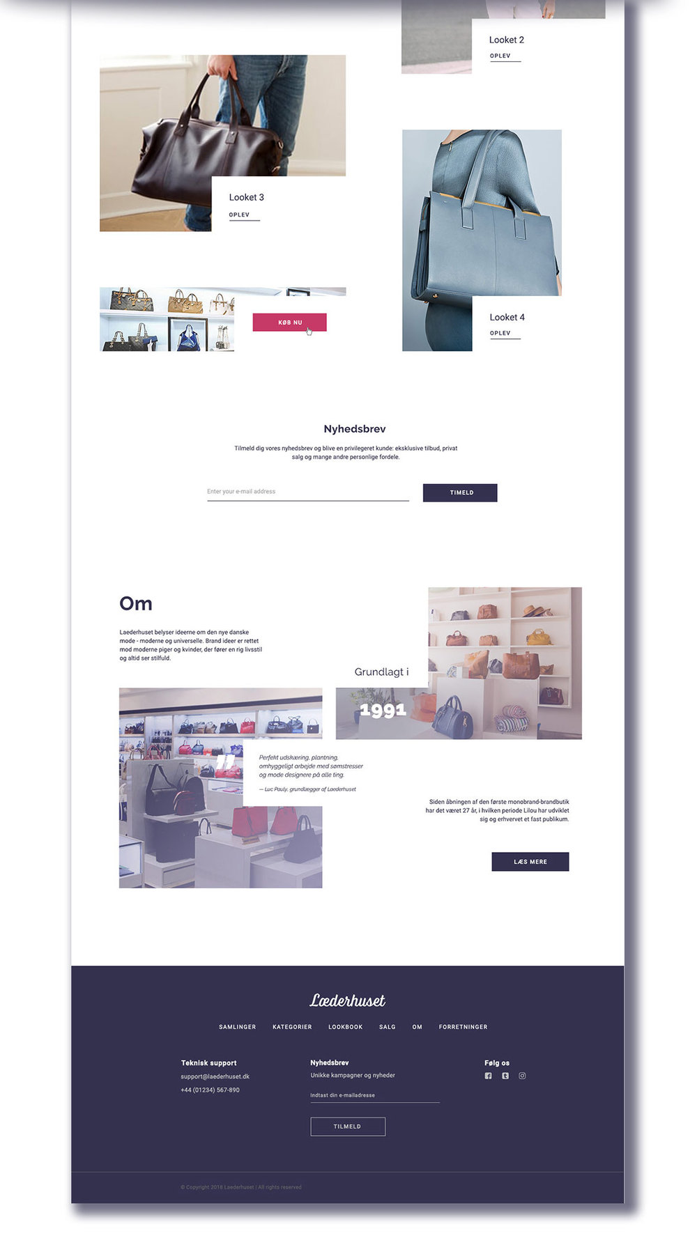 Læderhuset - Web Design Home page (Bottom half) by THAT Branding Company - Creative Design and Branding Agency in Newcastle