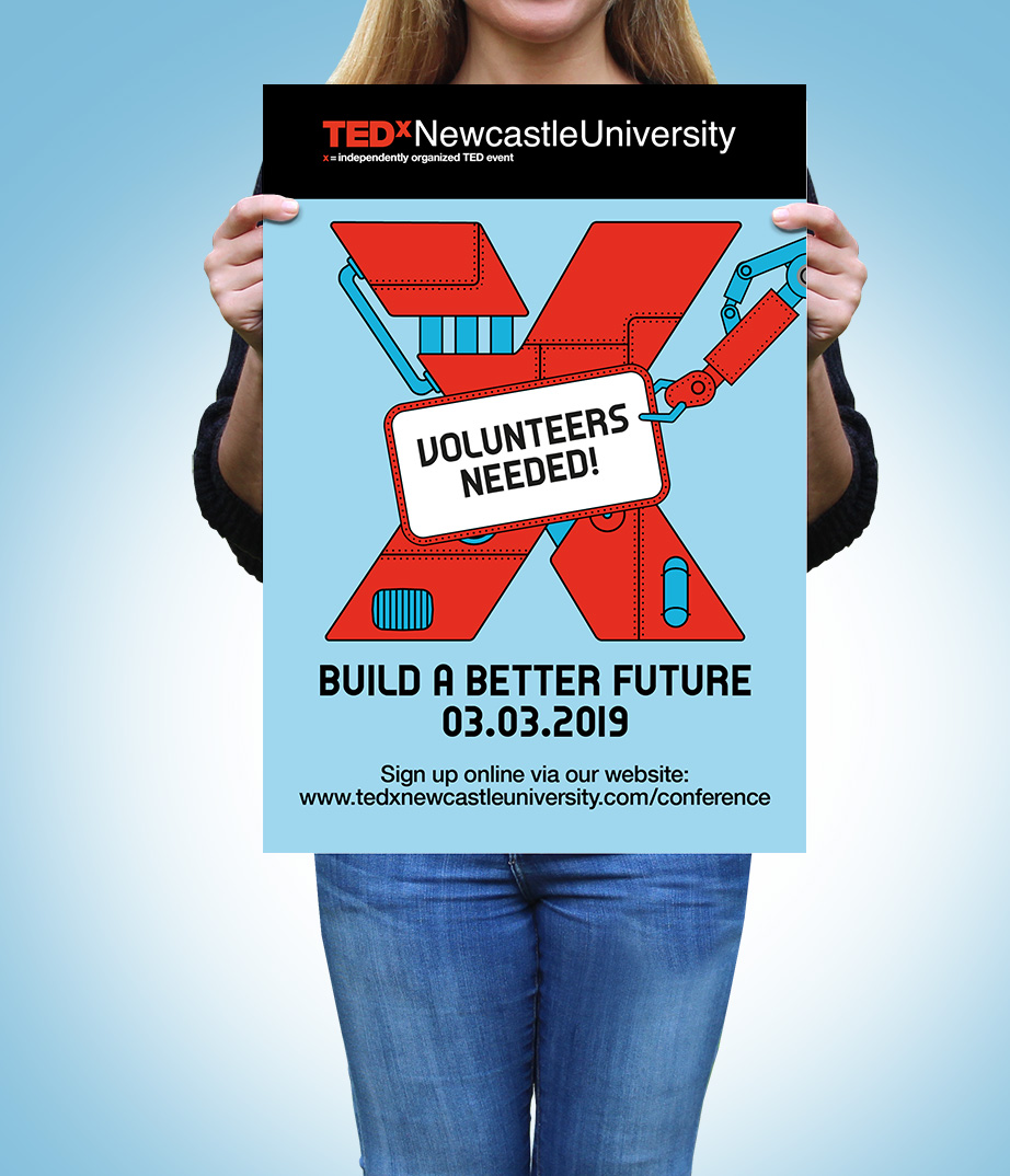 THAT Branding Company - TEDxNCLuni - Conference Branding - Volunteer poster.jpg