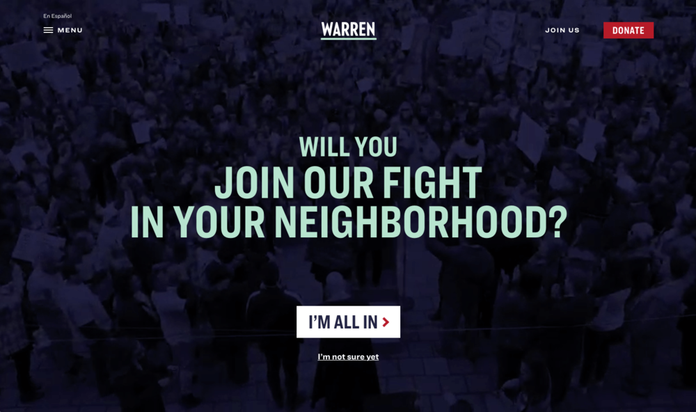 Elizabeth Warren presidential candidate home page - Screen shot from THAT Branding Company Newcastle Upon Tyne.png