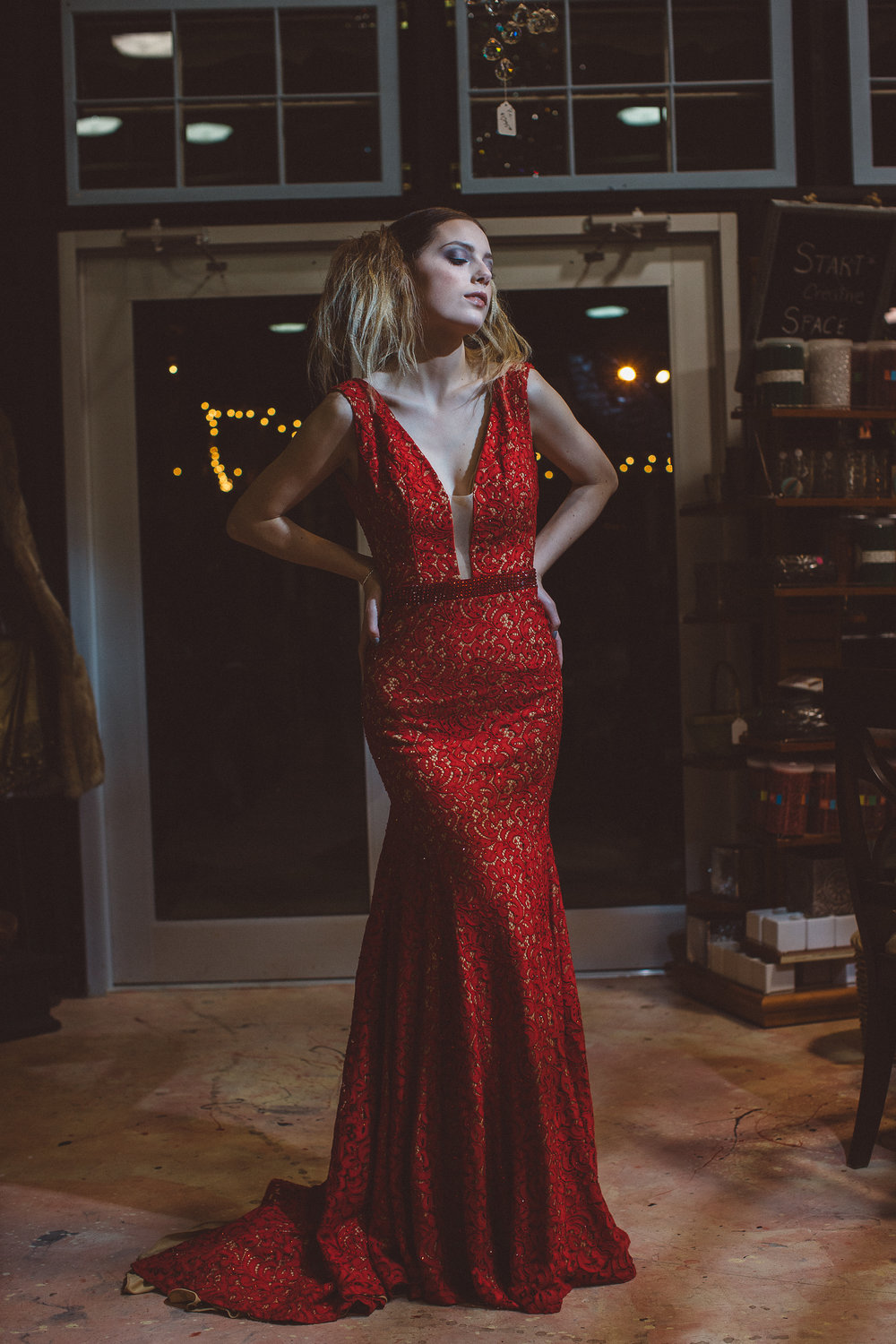 Unique Sparkly Red Plunging Neckline Floor Length Formal Dress