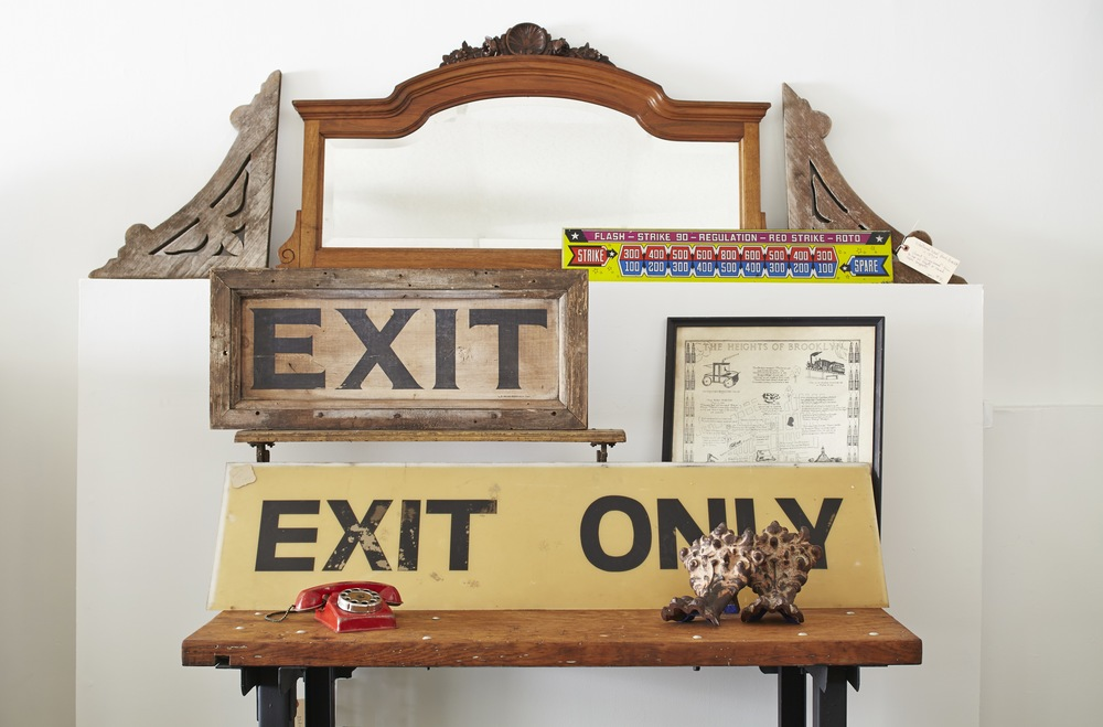 Vintage Signage And Industrial Salvage Pieces, Such As This Wood And Steel  Work Table,