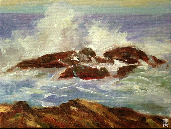 "seascape study , 6"" x 8"" oil on canvass panel ©rolandmechael2013 all rights reserved"