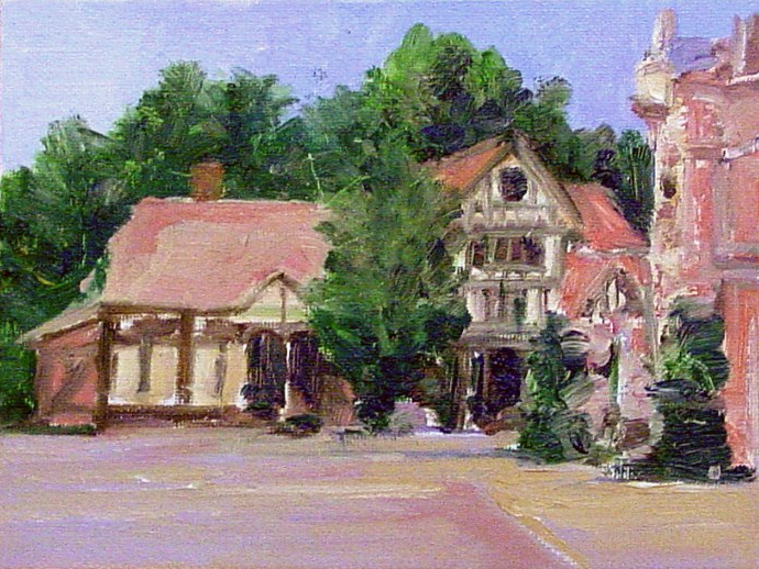 "UK Pavillion 6"" x 8"" oil on canvass panel , Epcot  ©rolandmechael2013 all rights reserved"