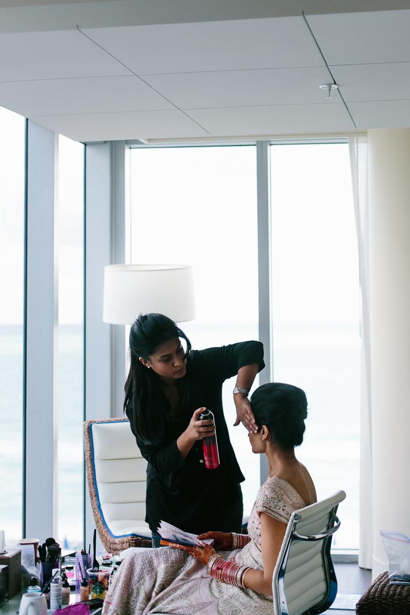 Sanjana Vaswani hair and makeup getting bride ready