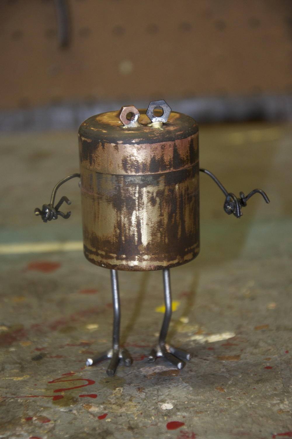 """""""The memory Monster""""    Steel rod, misc. hardware, container. 2011"""