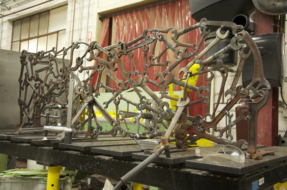 Wrench Shelf.    Built for Red Wing Shoes in Minnesota.    Antique wrenches. 2013.