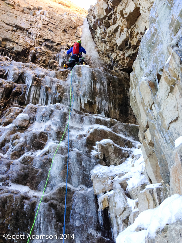 Nathan Smith leading the first pitch on the first ascent of The One Who Knocks.