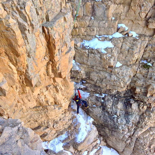 Jake Hirschi starting on the first ascent of Richochet Rabbit.