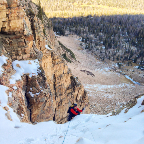 Jake Hirschi topping out on Pitch 3 of Golden Spike.