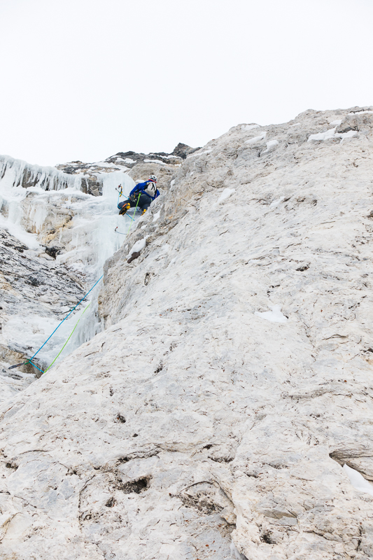 Nathan Smith on pitch 3 on the first ascent of Ice Giants.