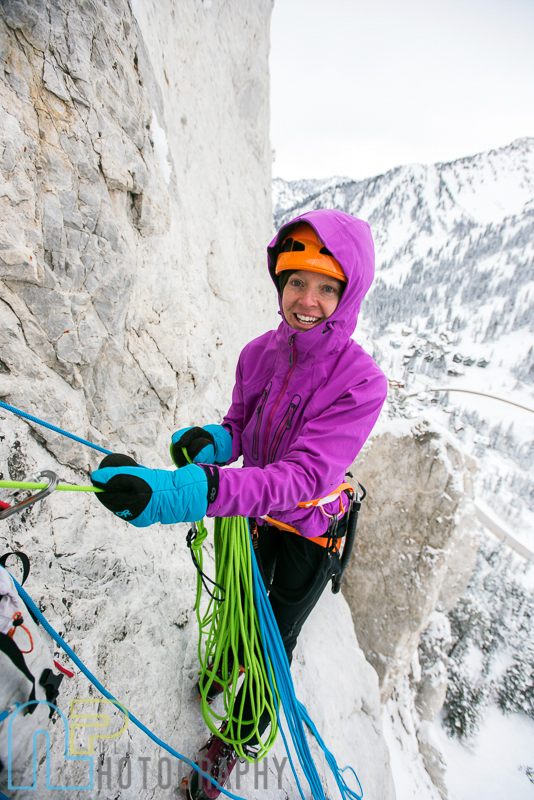Jewell Lund at the belay for pitch 2 of Ice Giants.