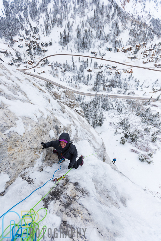 Jewell Lund on pitch 3 on the first ascent of Ice Giants. Psyched to have the Grivel Twingate draw on that bolt to protect the 40' fall to the slab below.