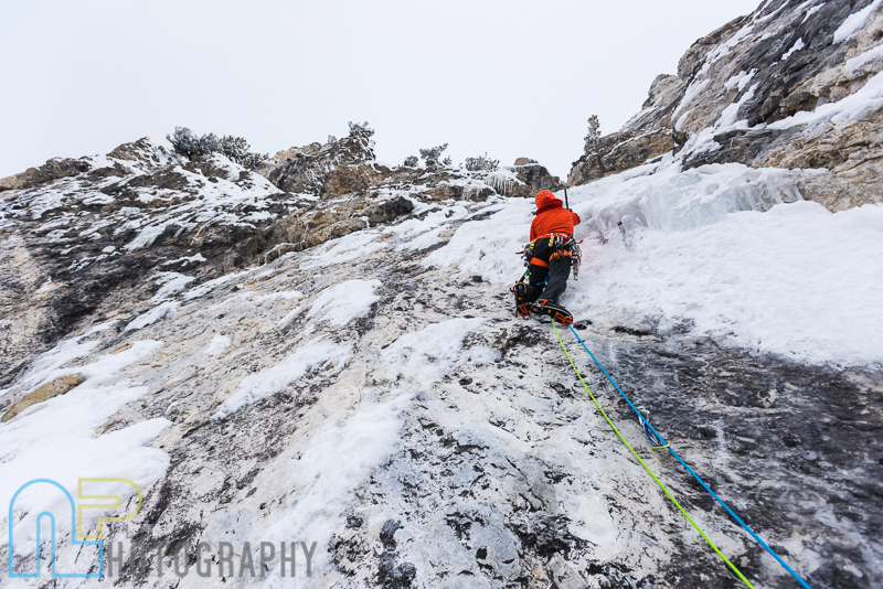 Tom Adams on pitch 4 on the first ascent of Ice Giants.
