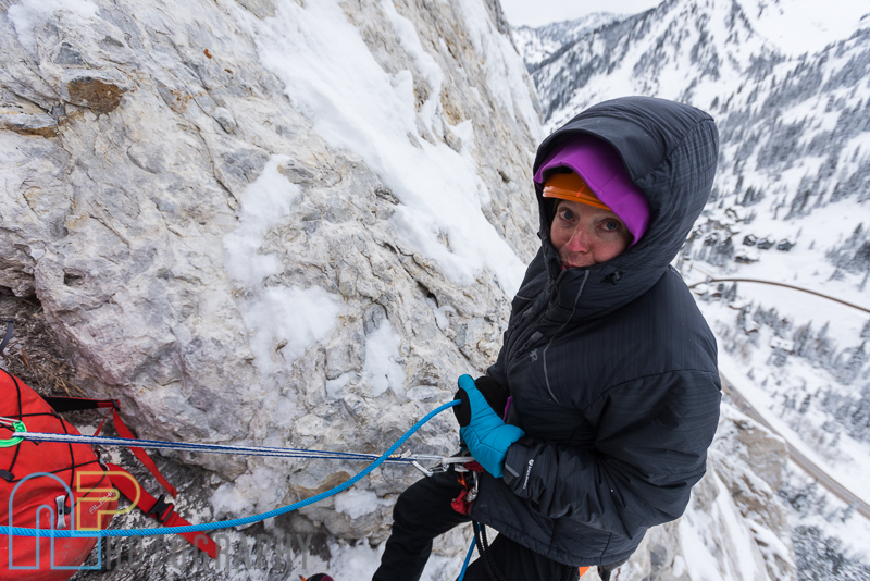 Jewell Lund feeling the cold at the pitch 3 belay on the first ascent of Ice Giants.